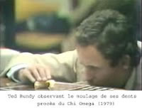 Ted Bundy observing the casting of his teeth during the Chi Omega murder trial (1979)